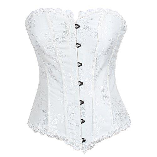 Reteron Women's Strapless Satin Sexy Strong Boned Overbust Corset XL White Plus Size Strapless Bustier