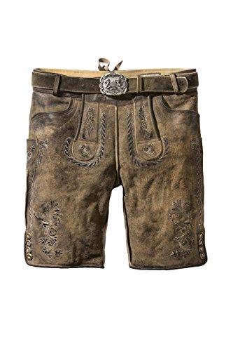 Stockerpoint - Herren Lederhose mit Gürtel, Stein Geäscht, Thomas, Größe:48;Farbe:Stein geäscht
