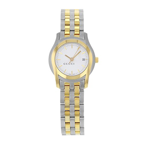 Gucci 5500L White Sticks Dial Two Tone Steel Quartz Ladies Watch YA055528