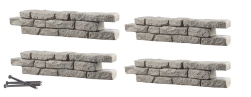 RTS Home Accents Rock Lock Interlocking Border System Straight Section With Spikes, 48-Inch Long, 4-Pack