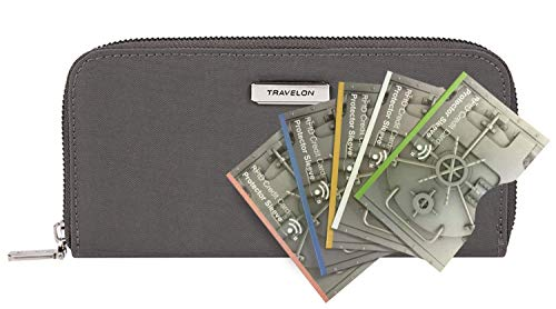 Travelon RFID Blocking Single Zip Wallet with 5 RFID Blocking Sleeves, Smoke