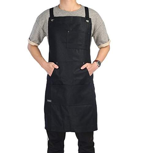 Work Apron, Clya Home Heavy Duty Waxed Canvas Apron Shop Apron with Tool Pockets, Adjustable Cross-Back Straps Up To XXL for Men Women (Black Rinse Apparel)