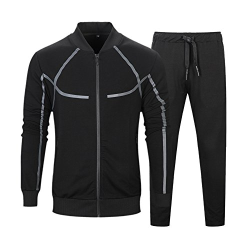Black Zip Sweat - MANTORS Men's Full Zip Tracksuit Set Casual Jogging Athletic Sweat Suits Black L