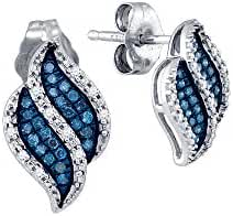 10kt White Gold Womens Round Blue Colored Diamond Cluster Earrings 1/6 Cttw