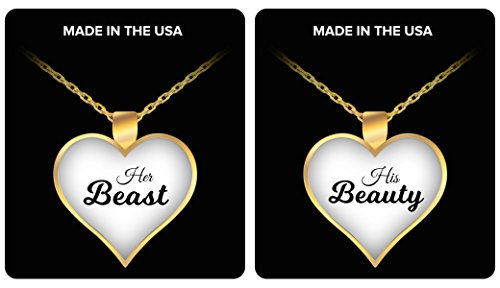 HER BEAST HIS BEAUTY COUPLE NECKLACE - Couples Funny Coffee Mug Set 11oz - Unique Wedding Gift For Bride and Groom - His and Hers Anniversary Present Husband and Wife - Engagement Gifts For Him VDay