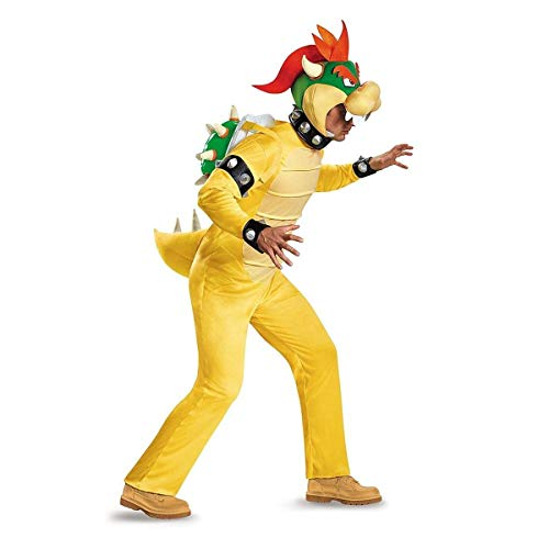 Disguise Men's Bowser Deluxe Adult Costume, Multi, -