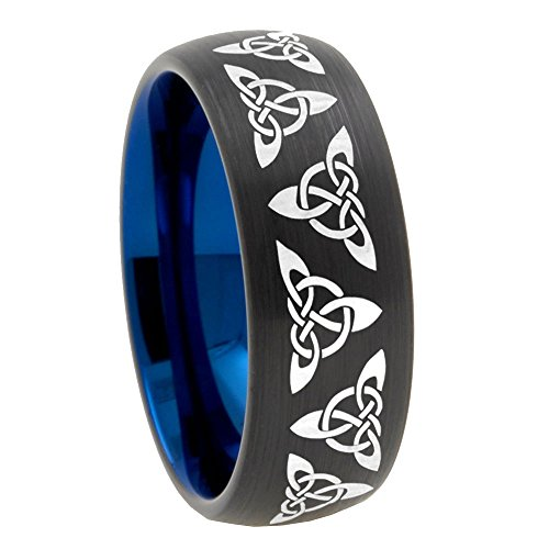 8mm Triangle Celtic Knot Tungsten Blue Matte Black Classic Dome Engrave Ring Size 9.5 (Ring Classic Celtic Knot)