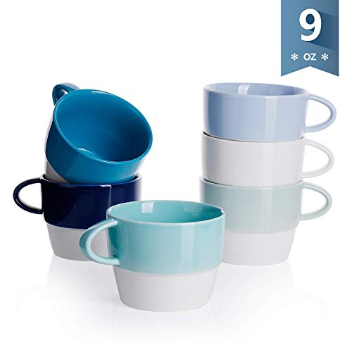 Sweese 4315 Porcelain Cappuccino Cups - Stackable Coffee Cups Set - 9 Ounce for Specialty Coffee Drinks, Latte, Cafe Mocha and Tea - Set of 6 - Cold Assorted Colors ()