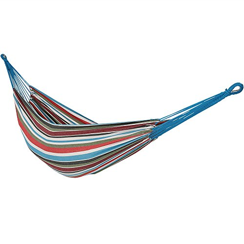 Sunnydaze Brazilian Double Hammock, 2 Person Portable Bed - for Indoor or Outdoor Patio, Yard, and Porch (Cool Breeze) by Sunnydaze Decor