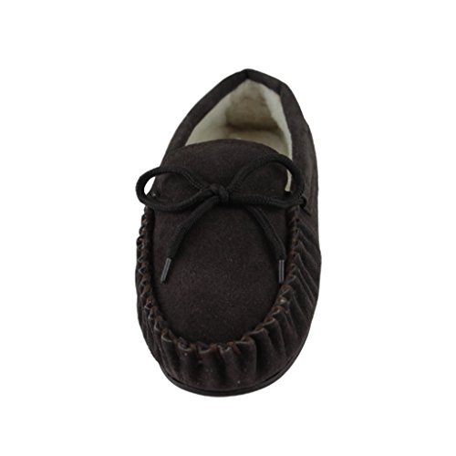 Sheepskin World Deluxe Mens Lambswool Moccasin Slippers With Hard Sole - Suede Upper Brown K5k3Q0
