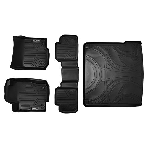 (SMARTLINER Floor Mats 2 Rows and Cargo Liner Set Black for 2012-2018 Mercedes Benz ML/GLE)