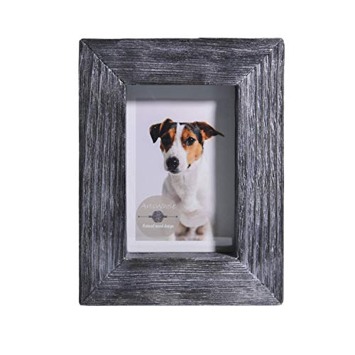 - 4x6 Black Silver Rustic Picture Frame - PREMIUM QUALITY - Reclaimed Wooden Photo Frame - Wall Mounting or Tabletop Display - Solid & Thick Natural Pine Tree (1.6