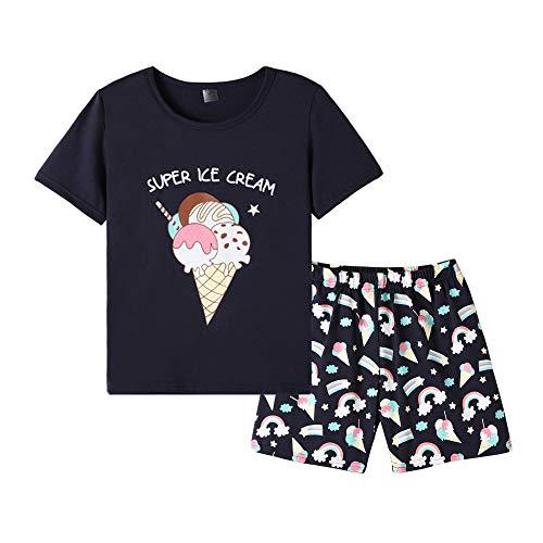MyFav Girls Cute Banana Summer Pajama 2 Pieces Casual Sleepwear 6-14 Years Child Rainbow