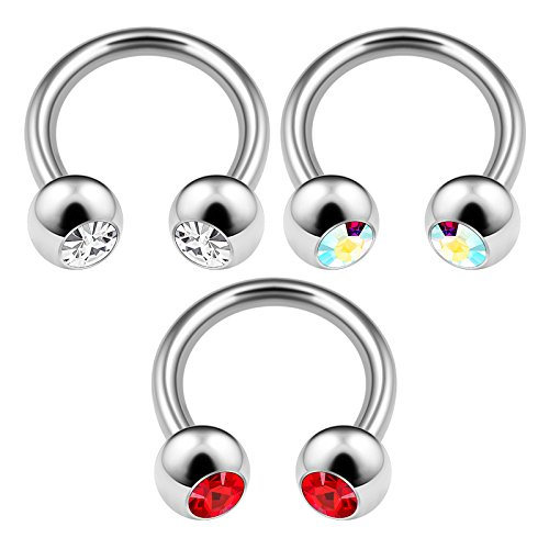 3PCS Surgical Steel Horseshoe Barbell 14 Gauge 5/16 8mm 4mm Crystal Ball Cartilage Lobe Earrings Septum Piercing Jewelry 3290 ()
