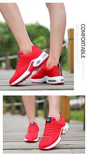 Luftpolster 34 Damen mit BETY Running Turnschuhe Laufschuhe 44 Herren Profilsohle Rot EU Sneakers Leichte Sportschuhe Air Schuhe SY5SxwAOq