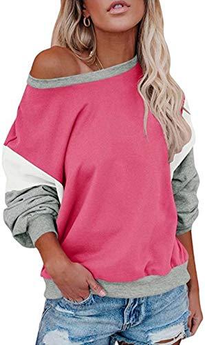 Damen Lose Fledermausärmel Sweatshirt Farbblock Pullover Oberteile Frauen Freizeit Rundhals T-Shirt Bluse