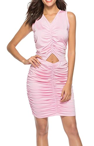 Sleeveless Out Cut Sexy Stylish Ruched Pink Bodycon Clubwear Women's Domple Dress OZqWwnaty