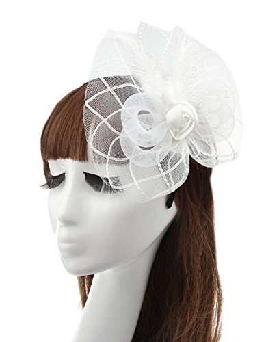 [MerryDay Women's Fascinators Small Hairpin Feather Hat] (White Top Hat Fascinator)