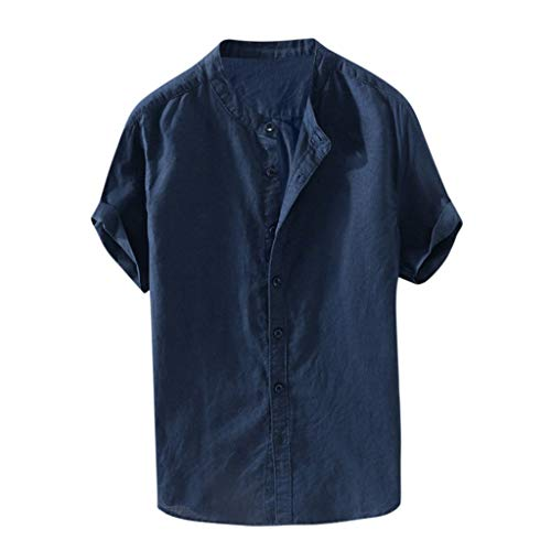 (Men's Cotton Linen Shirt,Loose Solid Breathable Short Sleeve Casual Button-Down Workwear T Shirts Tops Navy)