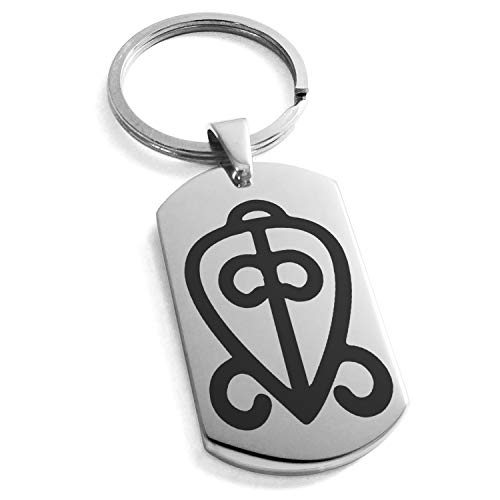 (Tioneer Stainless Steel Aztec Power of Love Rune Symbol Engraved Dog Tag Keychain Keyring)