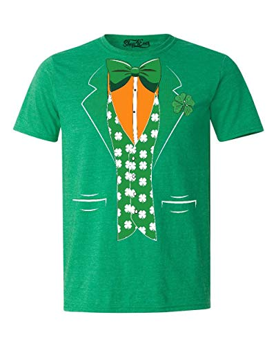 Shop4Ever St. Patrick's Day Irish Tuxedo T-Shirt Small Heather Irish Green 0 - Irish Flag Leprechaun