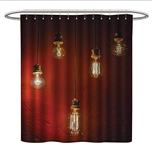 - Anshesix Industrial Decor Collectionfunny Shower curtainOld Incandescent Lamps Lighting Together on a Wall Electrical Bulb Energy Lamp PicturePlastic Shower curtainMaroon