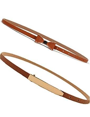 Women's Thin Belt Retro Vintage Stretch Elastic Cinch Chain Waist Belts 2 Pack (Brown)