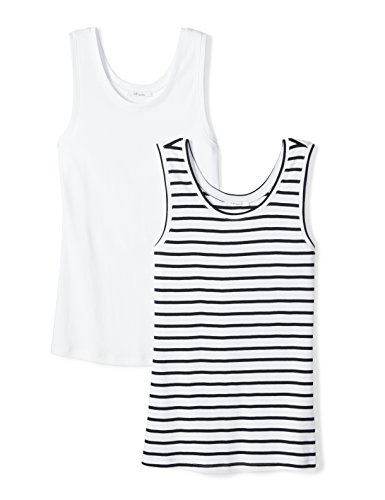 Amazon Brand - Daily Ritual Women's Midweight 100% Supima Cotton Rib Knit Tank Top, 2-Pack, Navy-White Stripe/White, X-Large