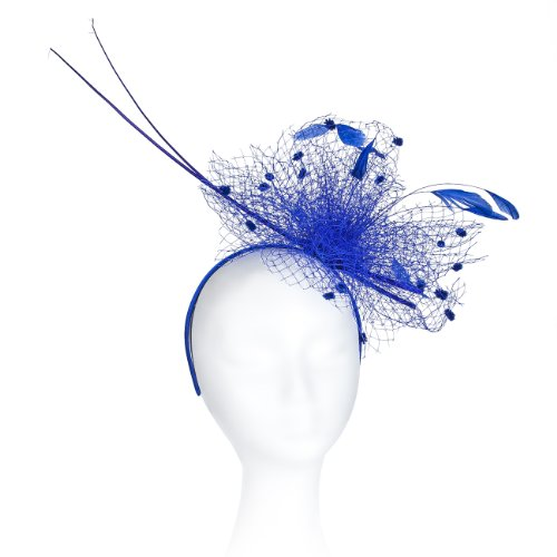 Occasion Hats for Women, Slim, Simple, Netted Fascinator for Weddings or the Races, with Double Peacock Quills. Velvet Balls on the net with Sprigs of Sequins and Feathers. Six Stunning - Simple Celebrity Costumes