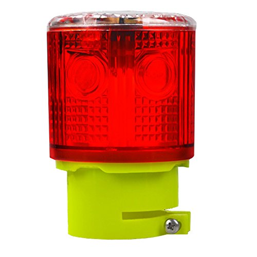 Aolyty Solar Strobe Warning Light 360 Degree Super Bright Waterproof IP48 for Construction Traffic Dock Marine Wireless Light Control Flashing (Red)