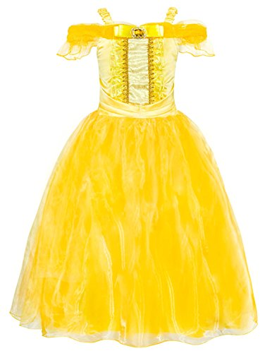 AmzBarley Princess Belle Yellow Party Costume Dress-up Set Princess Costume Cosplay Halloween Girls Age 11-12 Years Size 12 -