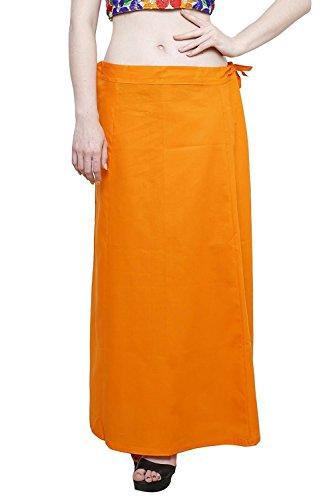 Aurielle Rogisse Mujer India Sari Algodón Enagua Bollywood Solid Inskirt Costuras Forro Enaguas Orange