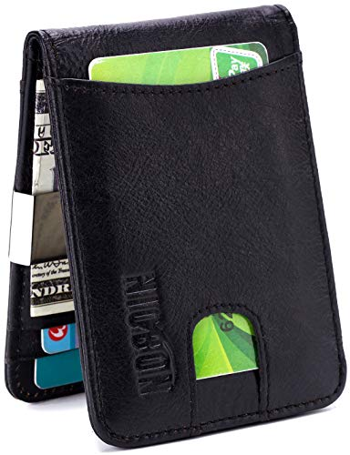 Men's Money Clip Wallet,RFID Blocking Genuine Leather Bifold Men Wallets Minimalist Mini Slim Card Holder (Black)