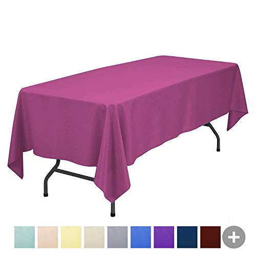 Holiday Tablecloth - Sunnolimit Tablecloth - 60 x 102 inch -Fuchsia-Rectangular Polyester Table Cloth, Wrinkle,Stain Resistant - Great for Buffet Table, Parties, Holiday Dinner & More