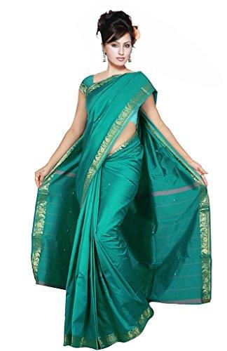 Indian Women's Traditional Art Silk Saree Sari Drape Top Veil fabric Emerald