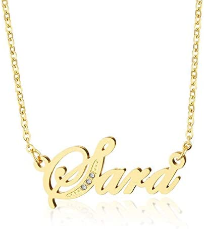 Metal Color: Gold-Color Davitu Unique Personalized Stainless Steel Name Necklaces /& Pendants Necklace for Women Name Necklace Chain Romantic Gift