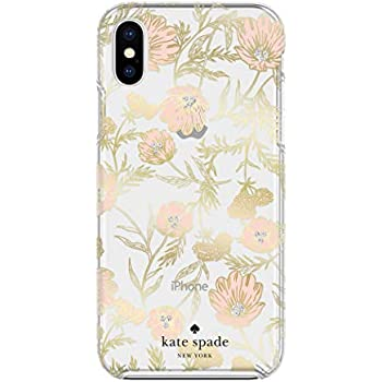 Kate Spade New York Phone Case for Apple iPhone Xs Max Protective Phone Cases with Slim Design Drop Protection and Floral Print, Blossom Pink/Gold Foil/Gems