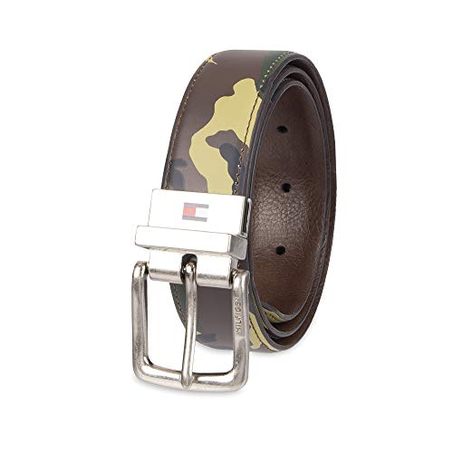(Tommy Hilfiger Boy's Reversible Casual Belt, Olive/Brown, X-Small)