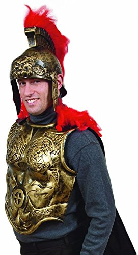 Ancient Roman Theater Costumes (Heavy Plastic Antiqued Gold Roman Armor Chestplate Costume with Cape)