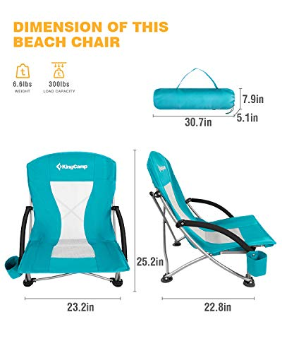 KingCamp Low Sling Beach Camping Folding Chair with Mesh Back (Cyan)