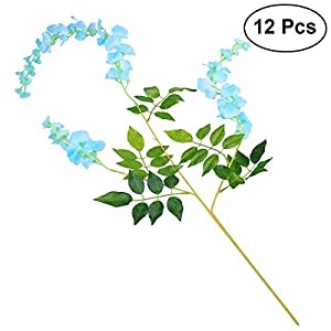 Tinksky 12pcs 110cm Artificial Wisteria Simulation Flowers Mother's Day Bouquet Home Garden Garland Wedding Floral Decor (Tiffany Blue) 10