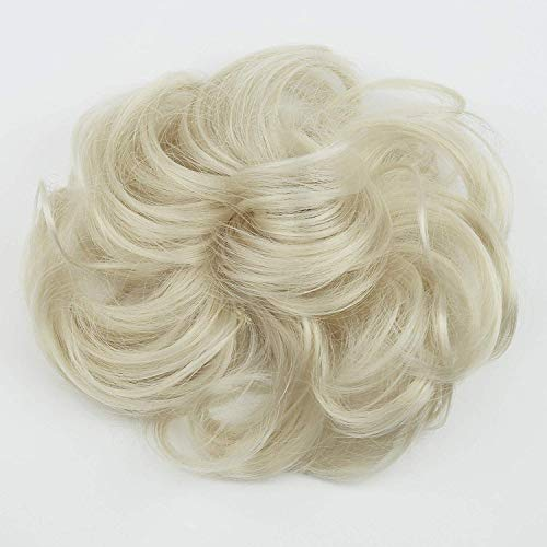 PRETTYSHOP Hairpiece Hair Rubber Scrunchie Scrunchy Updos Wavy Messy Bun Platinum Blonde G16A