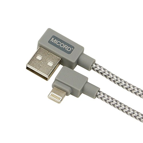Micord 90-degree Braided USB 3FT USB Data Sync Charge Cable Compatible with Phone X/8/8Plus/7/7 Plus/6S/6 (Grey)