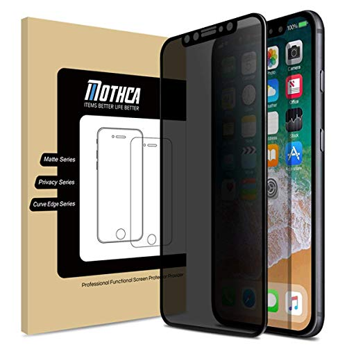 Mothca Screen Protector Privacy Compatible with iPhone Xs/iPhone X [Full Screen][Case Friendly] Anti-Spy Tempered Glass Film 3D Touch 9H Hardness Glass Screen Guard Anti-Scratch Bubble Free