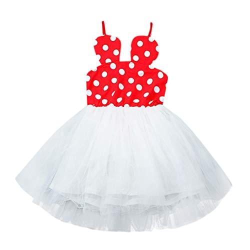 SANGQU 2Pcs Toddler Kid Baby Girl Dot Sling Tulle Skirt Tutu Dresses (12M-T) Red -