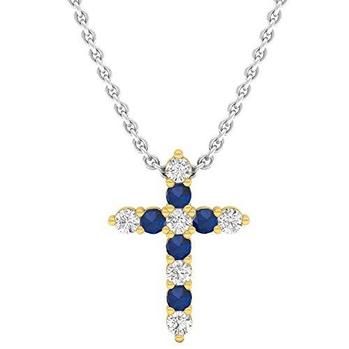 - Dazzlingrock Collection 18K Round Blue Sapphire & White Diamond Ladies Cross Pendant, Yellow Gold
