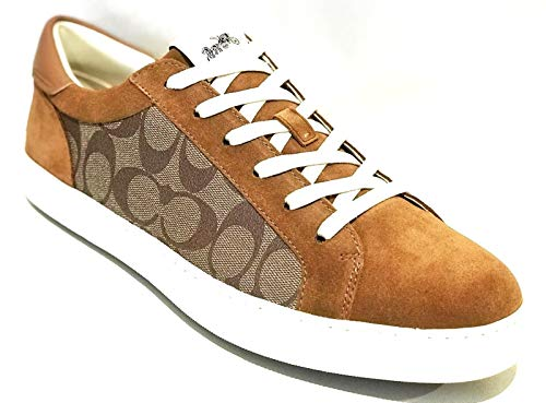 Coach New York Men's C126 Genuine Leather Low Top Casual Sneakers Khaki Multi Brown (11.5 D US) (Coach Shoes For Men Sneakers)