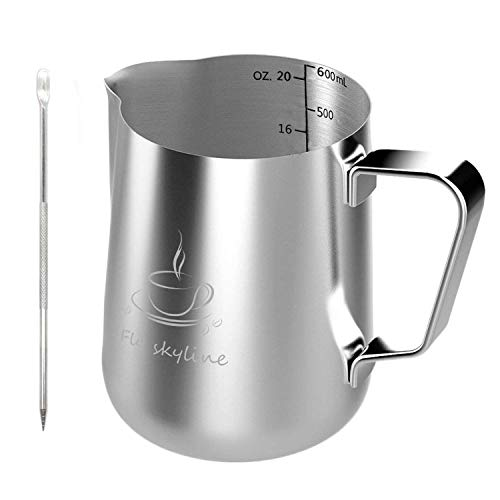 Milk Frothing Pitcher - Stainless Steel Measurement Inside the frothing Cup with Latt Art Pen by Fly Skyline