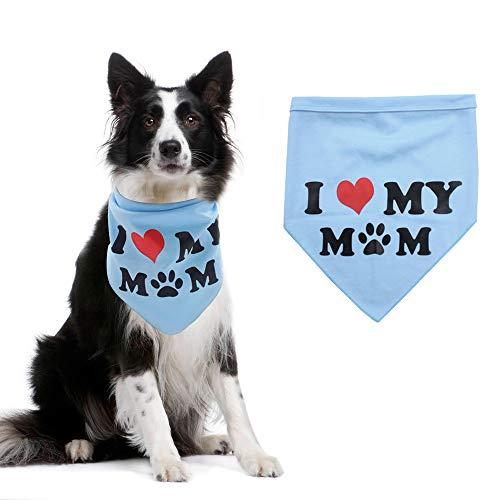 SCIROKKO Dog Bandana Pet Scarf - I Love My Mom Pattern - Blue - Puppy Small Large Dog