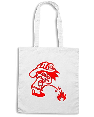 T-Shirtshock - Bolsa para la compra FUN0345 256 peeon fire decal 38802 Blanco